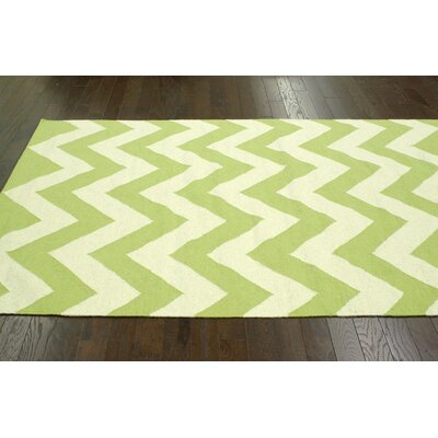 Moderna Chevron Hand-Flat Woven Green Kids Rug Rug Size: Rectangle 76 x 96