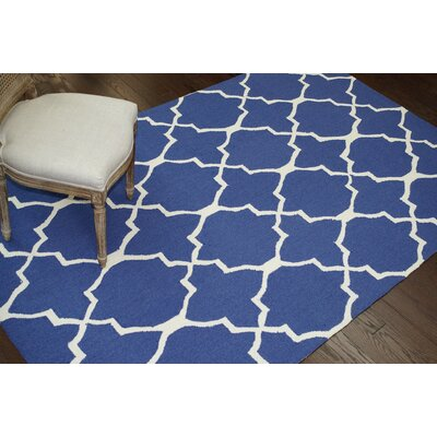 Trellis Regal Hand-Hooked Royal Blue Area Rug Rug Size: 86 x 116