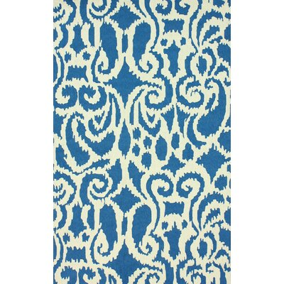Trellis Hand-Hooked Wool Blue Area Rug Rug Size: Rectangle 76 x 96