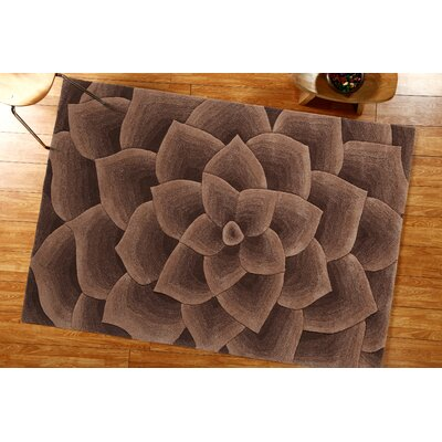 Elegance Hand-Tufted Taupe Area Rug Rug Size: Rectangle 76 x 96