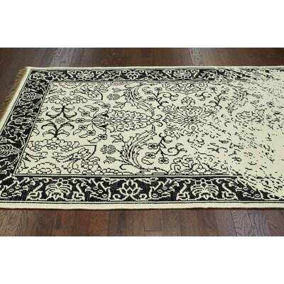 Ayers White Washed Damask Fringe Rug Rug Size: Rectangle 76 x 96