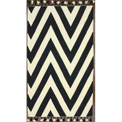 Flatweave Wave Border Black/Ivory Area Rug Rug Size: 5 x 8