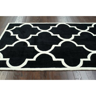 Cine Jillian Trellis Hand-Tufted Black Area Rug Rug Size: Rectangle 76 x 96