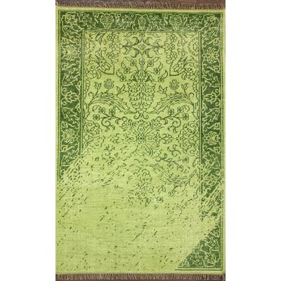 Ayers Green Washed Damask Fringe Rug Rug Size: 5 x 8