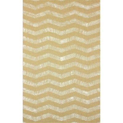 Natura Ivory/Gold Chervon Area Rug Rug Size: 5 x 8