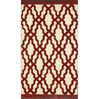 Brilliance Red Elegant Trellis with Fringe Area Rug Rug Size: 76 x 96