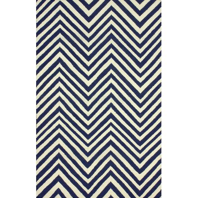 Flatweave Hand-Woven Wool Navy Blue Area Rug Rug Size: Rectangle 76 x 96