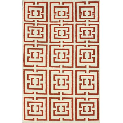 Flatweave Red Locking Area Rug Rug Size: 76 x 96