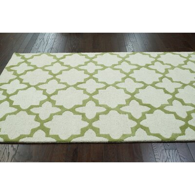Moderna Donna Hand-Tufted Beige/Green Area Rug Rug Size: Rectangle 6 x 9