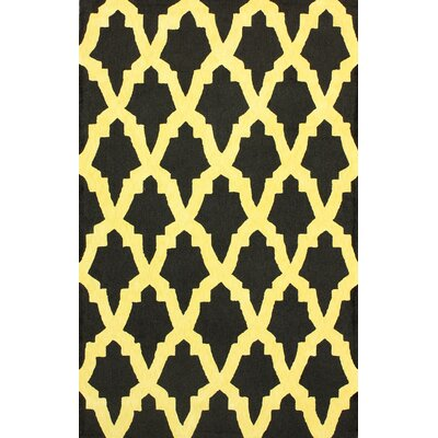 Brilliance Yellow/Black Damian Area Rug Rug Size: Rectangle 83 x 11