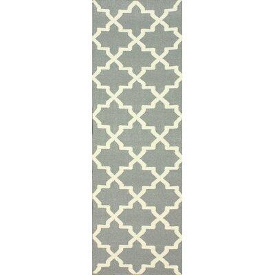 Moderna Hand-Woven Wool Gray Area Rug Rug Size: Runner 26 x 8