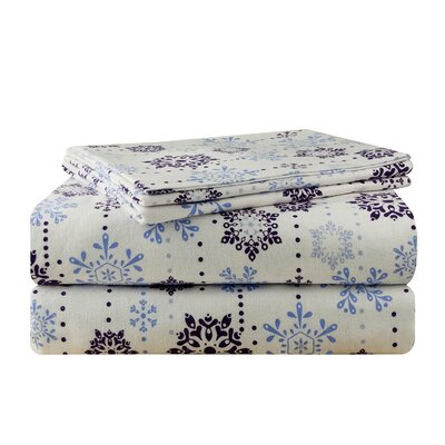 Snow Drop Flannel 100% Cotton Sheet Set Size: Queen