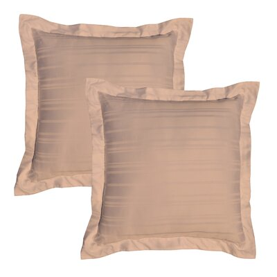 Stripe 510 Thread Count Pima Cotton Euro Sham Color: Camel