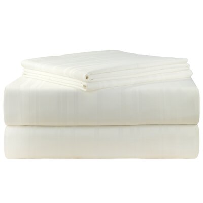 Stripe 510 Thread Count Pima Cotton Sheet Set Size: Queen, Color: White