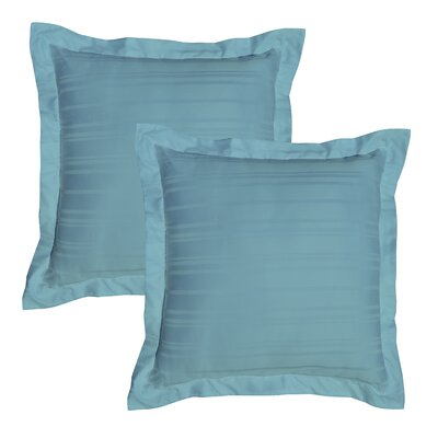Stripe 510 Thread Count Pima Cotton Euro Sham Color: Aqua Sky