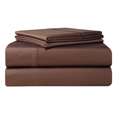 500 Thread Count 4 Piece Sheet Set Size: Queen, Color: Chocolate