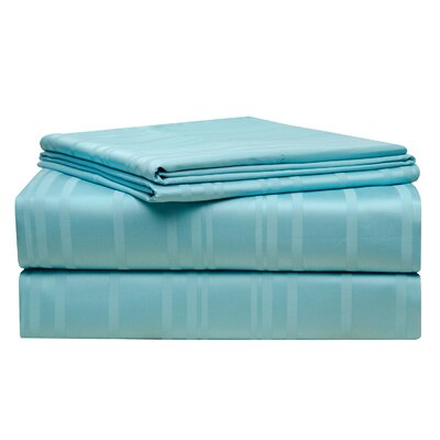 Stripe 510 Thread Count Pima Cotton Sheet Set Size: King, Color: Aqua Sky
