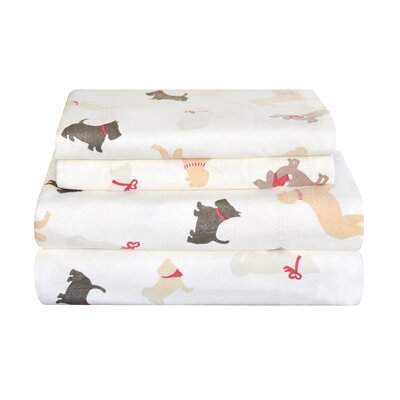 Winter Dogs Flannel Sheet Set Size: Full
