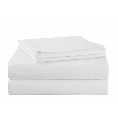 Dobby 525 Thread Count Pima Cotton Sheet Set Size: King, Color: White