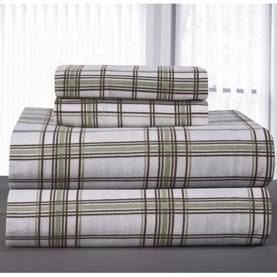 Heavy Weight Plaid Printed Flannel Sheet Set Size: Queen, Color: Sage Plaid