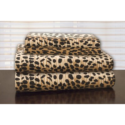 Heavy Weight Leopard Flannel Sheet Set Size: Twin