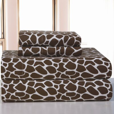 Heavy Weight Giraffe Flannel Sheet Set Size: Queen