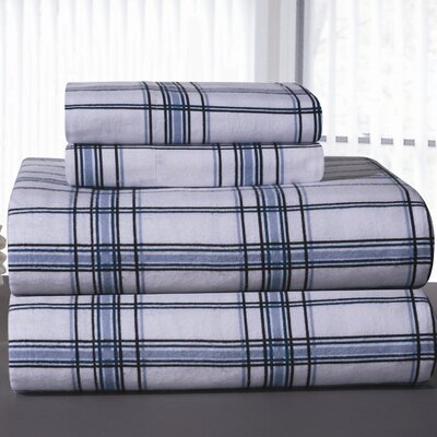 Heavy Weight Plaid Printed Flannel Sheet Set Size: California King, Color: Blue Plaid