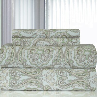 Heavy Weight Paisley Printed Flannel Sheet Set Size: Queen