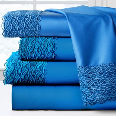 300 Thread Count 100% Cotton Sheet Set Color: Brilliant Blue, Size: Twin