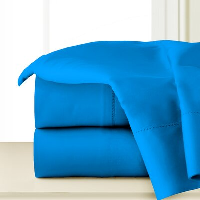 410 Thread Long Staple Count Cotton Sheet Set Color: Brilliant Blue, Size: Queen