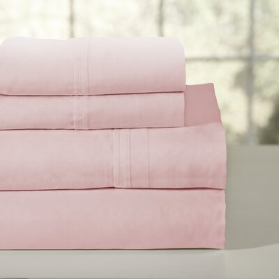 200 Thread Count 100% Soft Cotton Percale Sheet Set Color: Rose, Size: Twin