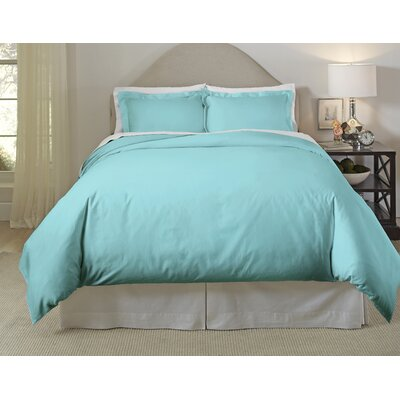 Long Staple Duvet Cover Set Size: Full/Queen, Color: Aqua