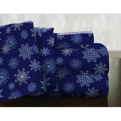 Snow Flakes 100% Cotton Flannel Sheet Set Size: Queen