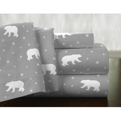 Polar Bear 100% Cotton Flannel Sheet Set Size: Queen