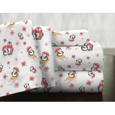 Penguin 100% Cotton Flannel Sheet Set Size: Queen