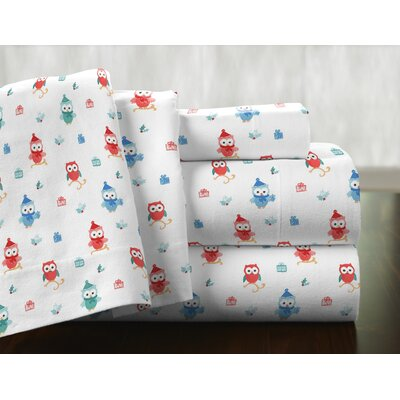 Owl 100% Cotton Flannel Sheet Set Size: Twin XL