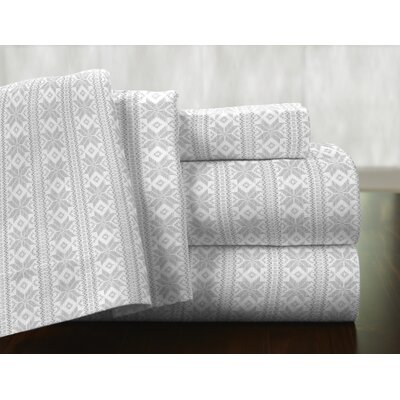 Fair Isle 100% Cotton Flannel Sheet Set Size: Queen