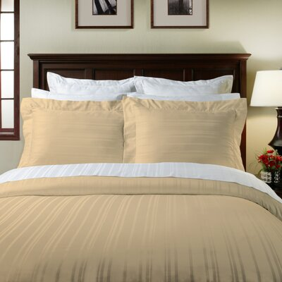 Stripe 3 Piece Duvet Cover Set Color: Oyster, Size: Full/Queen