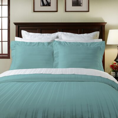 Stripe 3 Piece Duvet Cover Set Color: Aqua Sky, Size: Full/Queen