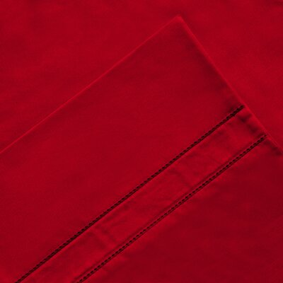 6 Piece 620 Thread Count 100% Long Staple Cotton Sheet Set Color: Red, Size: Queen
