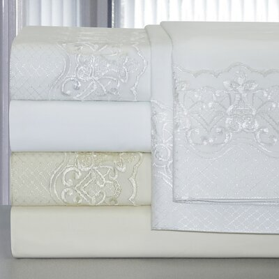 297 Bridal Lace 300 Thread Count 100% Cotton Sheet Set Size: King, Color: Ivory