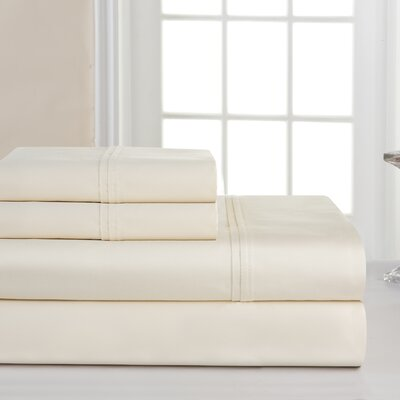 1000 4 Piece Thread Count 100% Cotton Sheet Set Size: King, Color: Bone