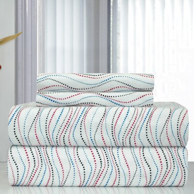 Heavy Weight Metro Printed Flannel Sheet Set Size: Queen