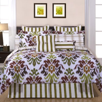 Luxury 6 Piece Reversible Comforter Set Size: Queen