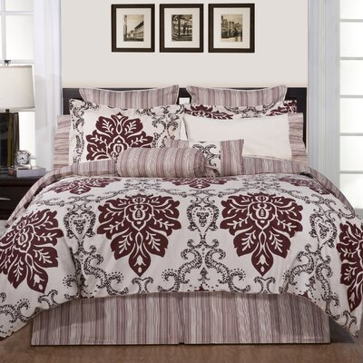 Luxury 8 Piece Reversible Comforter Set Size: Queen