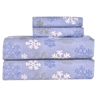 Pointehaven Heavy Weight Printed Flannel Sheet Set - Size: Queen, Color: Blue at Sears.com