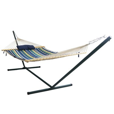 Island Retreat 4 Piece Polyester Hammock with Stand Set Size: 15 L