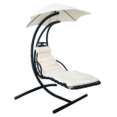 Island Retreat Polyester Hanging Chaise Lounger with Stand Fabric: Canvas Beige