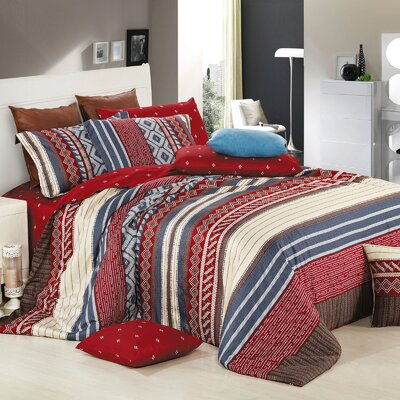 Algonquin Cotton 4 Piece Reversible Duvet Set Size: Twin