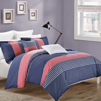 Chaplin 3 Piece Reversible Duvet Cover Set Size: Queen